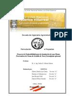 Estudio de Prefactibilidad para la Instalación de una Planta de Industrializacion de Tara 2009