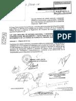 Ley Que Declara de Interés Nacional y Necesidad Pública La Construcción, Mejoramiento y Asfaltado de La Vía Expresa de Evitamiento de La Ciudad de Huancayo, Región Junín.