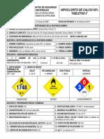 Hipoclorito de Calcio Tabletas 3 HDS