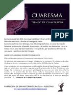 Boletín Cuaresmal de San Antonio de Padua