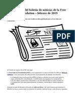Recopilación Del Boletín de Noticias de La Free Software Foundation – Febrero de 2019