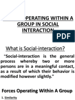 Forces Operating Within a Group in Social Interaction