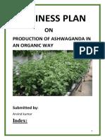 BUSINESS PLAN  ON PRODUCTION OF ASHWAGANDA IN AN ORGANIC WAY