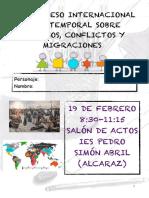Programa de mano I Congreso Internacional Intertemporal en el IES Pedro Simón Abril