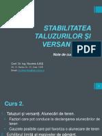 C1 + STABILITATEA TALUZURILOR ŞI VERSANŢILOR