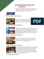 Clasificación de Restaurantes Por Tenedores