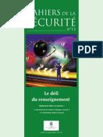 Cahiers de la sécurité et de la justice  N°13 - Le défi du renseignement