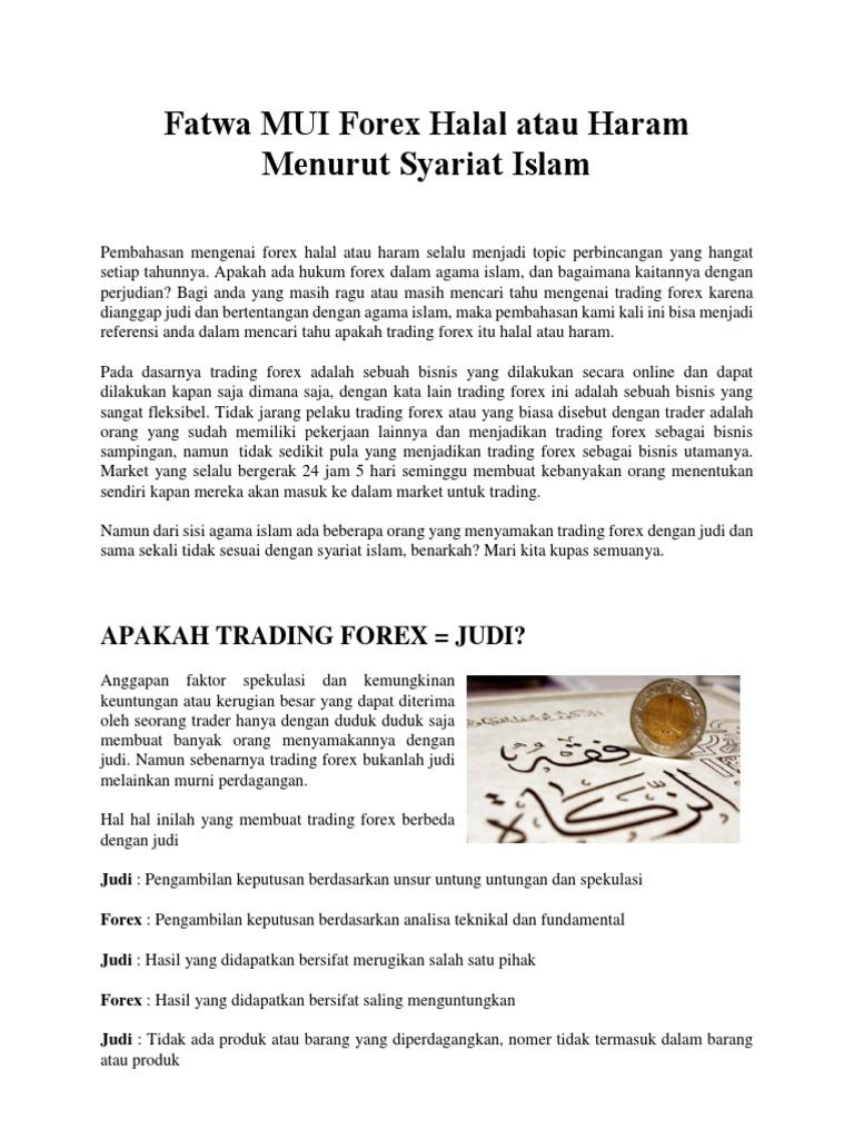 hukum forex trading dalam islam untuk