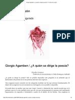 Giorgio Agamben _ ¿a Quién Se Dirige La Poesía_ – Ficción de La Razón
