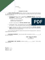 Affidavit of Loss or for Warranty LED TV