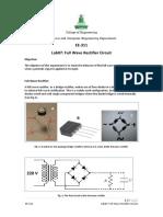 Full Wave Rectifier Circuit lab manual