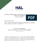 Moulinier, Laurence - Le Sang Au Moyen Age, Entre Savoir Et Questionnements, Science Et Imaginaire