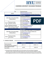 2017 2018 HYU Student Exchange Information Sheet Website Upload