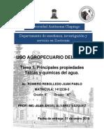 Tarea 1. Principales Propiedades Físicas y Químicas Del Agua.