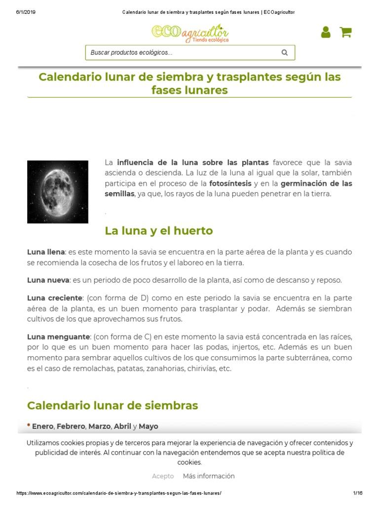Calendario Lunar De Siembra.Calendario Lunar De Siembra Y Trasplantes Segun Fases Lunares