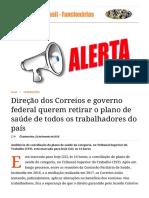 Direção Dos Correios e Governo Federal Querem Retirar o Plano de Saúde de Todos Os Trabalhadores Do País _ Correios Do Brasil - Funcionários