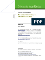 La memoria social y la memoria política