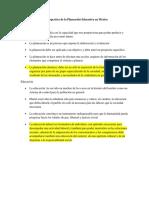 La Perspectiva de La Planeación Educativa en México