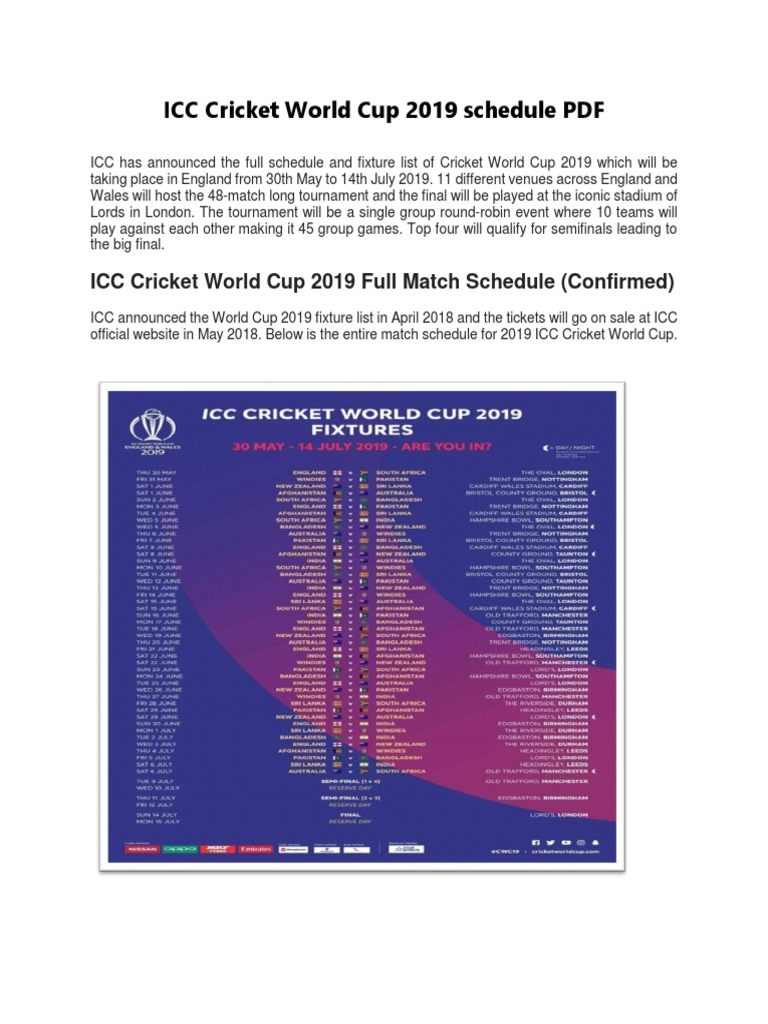 Icc Cricket World Cup 2019 Schedule Pdf Sports Teams Teams