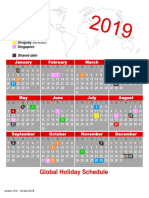 2019 Sabre Global Holiday Wall Calendar