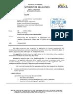 Division Memorandum No. 168, s.2018