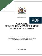 National Budget Framework Paper FY 2019-20