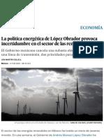 La Política Energética de López Obrador Provoca Incertidumbre en El Sector de Las Renovables _ Economía _ EL PAÍS