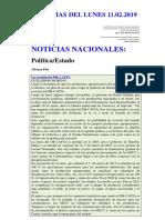 Noticias Del Lunes 11.02.2019