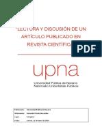 Lectura y Discusión de Un Artículo Publicado en Revista Científica
