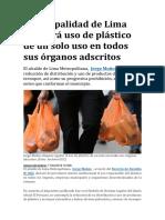 Municipalidad de Lima regulará uso de plástico de un solo uso en todos sus órganos adscritos