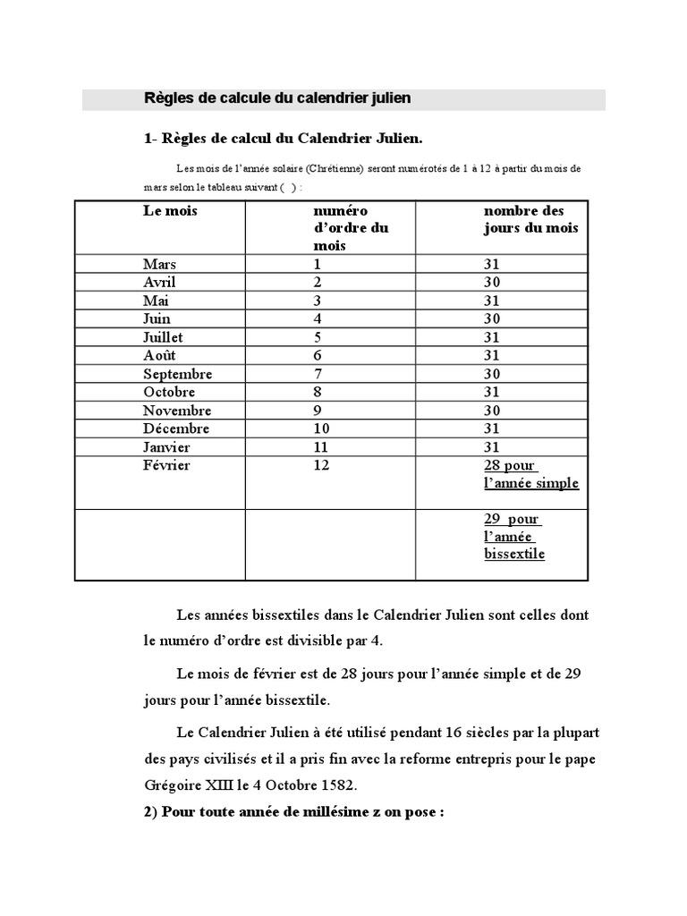 Calendrier Pour Les Regles.Regles De Calcule Du Calendrier Julien Doc