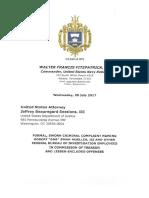 Navy Veteran Walter Fitzpatrick's formal charge of treason of Robert Mueller
