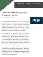 Estereotipos, somatotipos y creación de personajes literarios - Víctor Sellés