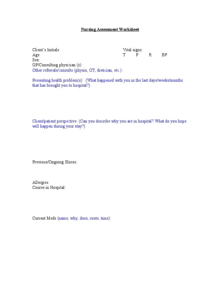 Workbooks tprh verbal workbook : Orem's Assessment Guide | Coping (Psychology) | Medical Diagnosis