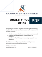 KE Quality Policy