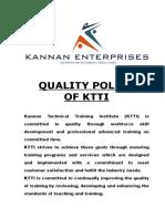 KTTI Quality Policy