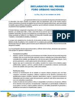 Declaración Del Foro Urbano Nacional 2018