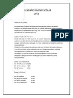 Calendario Cívico Escolar 2018- Paneles