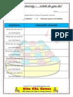 What Do You Do Birthday Survey Worksheet