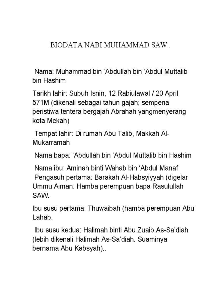 Biodata Nabi Muhammad Saw Docx