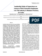 The Impact of Leadership Styles of Supervisors on Employee Performance of Non-Executive Employees