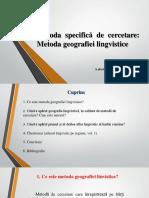 Gramatica istorica. Metoda geografiei lingvistice