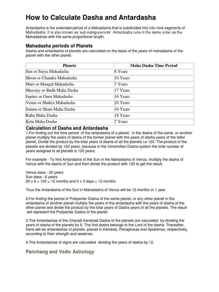 How to Calculate Dasha and Antardasha: Mahadasha periods of Planets