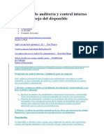 Programa de Auditoría y Control Interno Para El Manejo Del Disponible