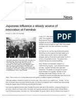Japanese Influence a Steady Source of Innovation at Fermilab News