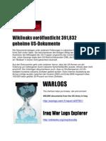 War Logs Wikileaks veröffentlicht 391,832  geheime US-Dokumente