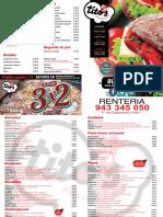 Carta pizzeria Tito`s