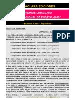 Bases Premios Limaclara Internacional de Ensayo 2019 2