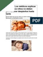 Peligro de No Dormir Temprano Los Niños