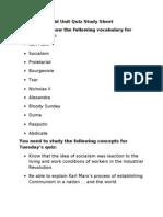 Mid Unit Quiz Study Sheet